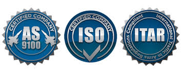 AS 9100, ISO and ITAR badges